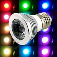 Wholesale 3W E27 GU10 spot light Mr16 Color Changing RGB LED Light Bulb Lamp DC V Key IR Remote