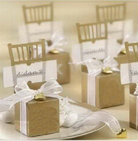 anti wood chair - Monogrammed Miniature Gold Chair Favor Box with Heart Charm and Ribbon Set of Wedding Favor Candy Boxes Gold Favor Boxes