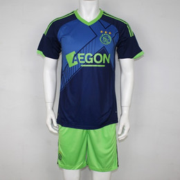 Wholesale NEW Customized Soccerjersey Ajax away game embroid Polyester shirt short