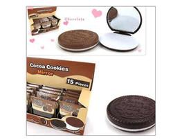 Brown Plastic Chocolate Cookies Herramientas de Maquillaje Face Compact Mirror Comb # 1748