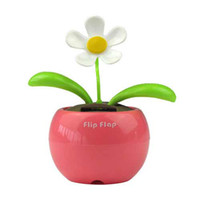 Wholesale Novelty Toys Car Decor Flap Flip Solar Powered Flower Flowerpot Swing Solar Dancing Toy