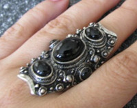 Unisex Alloy Band Rings Fashion Black Stone Knuckle Ring