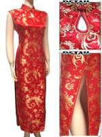 Wholesale Sexy Chinese peafowl Womens Satin Evening Dress Cheongsam wedding dress free shopping