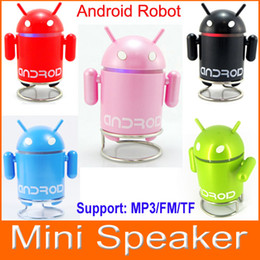 Wholesale Google Android Robot MP3 Mini Speaker with TF Card Slot FM Raido For Smart Phone