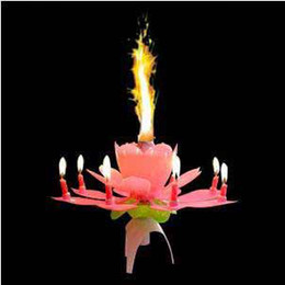 Wholesale Beautiful Musical Blossom Lotus Flower Candle Birthday Party Music Sparkle