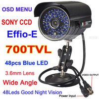 Wholesale 700TVL SONY CCD Effio E LED OSD MENU CCTV Outdoor Camera Wide Angle Vision