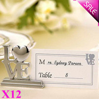 Wholesale Elegant Metal LOVE Place Card Holder in Organza Bag Packing Wedding Favors Party Table Decor Idea