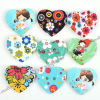 Wholesale 120 New Arrival Cute Holes wooden Buttons Heart Colorful Sewing Buttons Fit Clothes