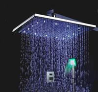 Wholesale Two Handles Wall Mounted Chrome LED Rainfall Shower Set L