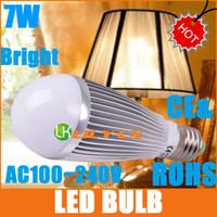 Acheter E27 ce smd-Ampoule LED 7W E27 AC100V 220V blanc LED couleur CE ROHS 700LM conduit ampoules navire gratuit HOT SALE