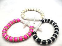 Wholesale 2012New Sideway Cross Bracelets Plastic Beads Side Ways Cross Bracelets Mixed Side Way Cross Bracele