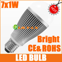 Wholesale HOT AC100V V W E27 LED light bulb white color Bright LM led bulbs free ship years Warranty