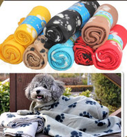 Wholesale Hot Selling Medium Size Soft Dog Cat Fleece Pet Paw Prints Blanket Mat Brand