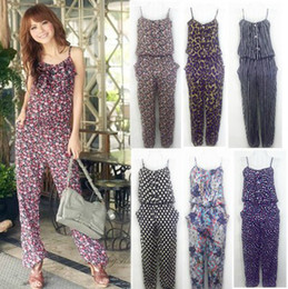 Wholesale 2012 Hot Selling Women Nine sub sevenths one piece pants Floral piece pants Harlan wide leg jumpsuit