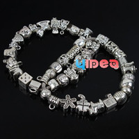 Wholesale 120pcs Mixed items Alloy Rhinestone Charms Beads Fit Bracelet Jewelry DIY