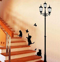 art improvement - Cat and Lamp PVC Wall Stickers Art Decals Beautiful Home Improvement x31 inch
