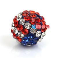 Wholesale 25 USA Flag Design Iced Beads mm High Quality Rhinestone Disco beads Fit Charms Bracelets