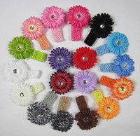 Cheap 36pcs headbands Crochet headband + 36pcs girls Hair flower hair clips baby hair bow clip Sold