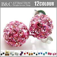 Wholesale 50pairs Mixed AB Clay Balls mm Crystal Beads Studs Earrings Popular Jewelry