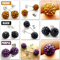 Wholesale pairs Mix colors color mm Crystal Beads Studs Earrings silver Top Sale