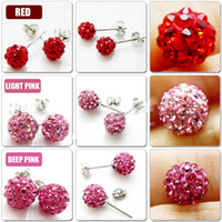 Wholesale Shinny mm Crystal Multicolors Beads Studs Earrings pairs Fashion silver