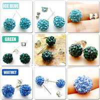 Wholesale Stylish Shinny mm Crystal Beads Studs Earrings Mix colors pairs silver
