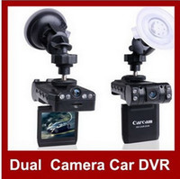 Wholesale 2 quot TFT Wide Angle Dual Camera With LED Night Vision Car DVR Video Camcorder