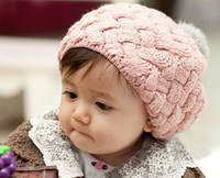 Wholesale Keep Warm Crochet Hats Winter Accessories Year Children s Hats Baby Caps Mix Color per Three Colors Red Pink Fashionable Kids Hats