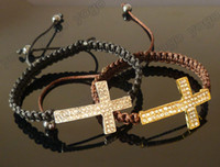 Wholesale Mix Jewelry pc Handmade Crystal Rhinestone Sideways Cross Bracelets Adjustable Cord Color