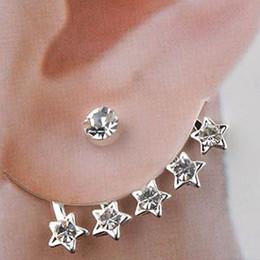 Wholesale Ear Cuff Stud earrings Wedding Silver Jewelry Pentagram Rhinestone Best Gift LK2145