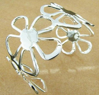Wholesale silver bangle classic silver bangle silver flower cuff bangles bracelet mix order