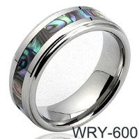 Asian & East Indian asia band - Sea Shell Inlay Tungsten Wedding Ring for Asia Men mm Width WRY