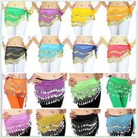 Wholesale 12 Colors Rows Gold Coins Belly Egypt Dance Hip Skirt Scarf Wrap Belt Costume
