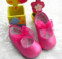 Wholesale baby girls hard sole shoes rubber sole PU leather bow knot hot pink red green shoes