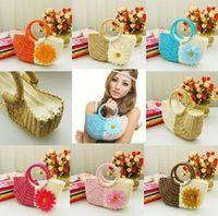 Blue straw beach bag - Korean Style Lovely Flowers Straw Bag Woman Summer Beach Bags Handbag Totes bags Hand Color Mix