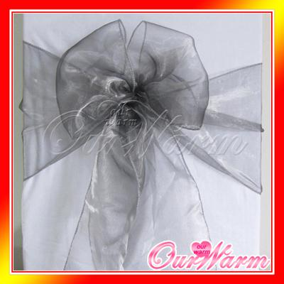 100 gray organza chair sashes dark silver charcoal crystal table