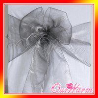 Wholesale 100 Gray Organza Chair Sashes Dark Silver Charcoal Crystal Table Sample Fabric wedding Bow Gift