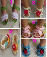 Wholesale Soft m Summer Newborn Baby Crochet handmade Knitting Booties cotton yarn sandals shoes Toddler