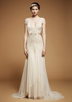 Wholesale 2012 Sexy V Neck Short Sleeves Evening Dresses Ivory Sequins Beaded Crystals Gown Prom Dresses