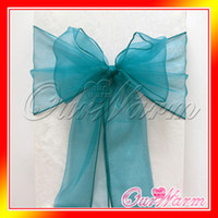 Wholesale 100 Teal Blue Organza Chair Sashes Bluish green Crystal Table Sample Fabric wedding Bow Gift Party