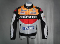 Wholesale free New Moto GP motorcycle REPSOL Racing Leather Jacket size S to XXXL