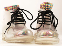 Wholesale Free transportation stylish transparent rubber boots and shoes to send rainbow socks