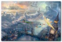 "One Panel Digital printing Abstract Thomas Kinkade Print Art Peter Pan Tinker Bell 24x36"" On Canvas Never Fade .. #38"