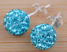 Wholesale Super Selling Dazzling Crystal Beads mm Ball Studs Earrings pairs Mix Colors silver NEW