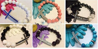 Wholesale sideways cross bracelets diy side ways beads strand stretched basketball wives spacer beads bracelet