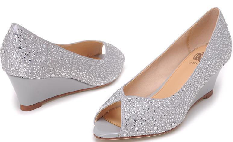 Osionce Peep Toe Wedge Dress Shoes For Womens Silver Blingbling ...