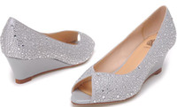 Wholesale Osionce Peep Toe Wedge Dress Shoes For Womens Silver Blingbling Wedges High Heels Ladies Pumps