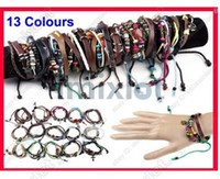 Wholesale 48pcs Hot Fashion Jewelry Womens Mens Leather Braided Hemp Surfer Belt Bracelet Wristband Free Ship B374 B389 M