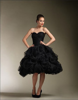 Knee-Length Portrait Tulle Short Black Wedding Dress Sweetheart Ball Gown Pick Up Bubble Tulle Knee Length Bridal Gowns 8611