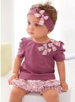 Wholesale Amissa Baby girls floral suit three piece sets shirt shorts pants headband Kids Outfit sets girls clothing kids clothes sets